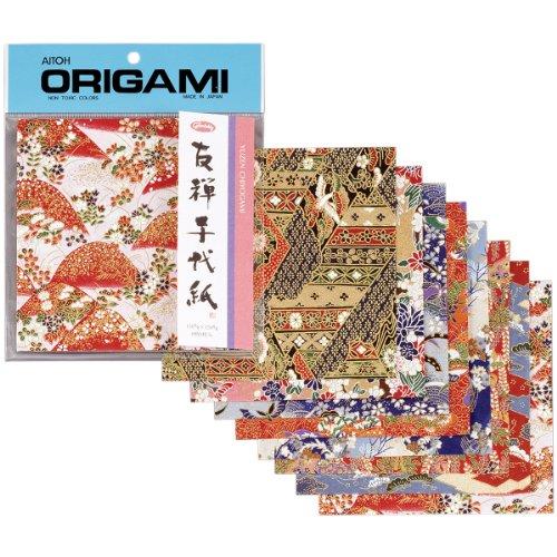 Aitoh Origami Papier 5.875-inch X 5.875-inch 8Sheets-yuzen Washi rot