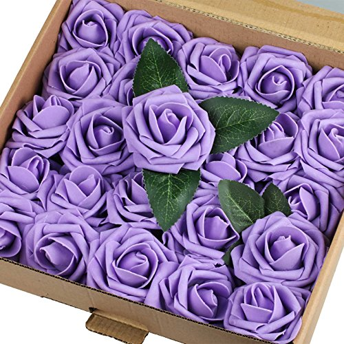 Vlovelife 50pcs Lavender Real Looking Fake Roses Artificial Flowers Roses Head with Stem for DIY Wedding Bouquets Centerpieces Arrangements Birthday Baby Shower Home Party Decorations…