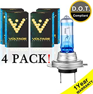 Voltage Automotive H7 Headlight Bulb Night Eagle 40 Percent Brighter Professional Upgrade for Car Motorcycle (4 Pack) - Replacement for High Beam Low Beam Fog Lights