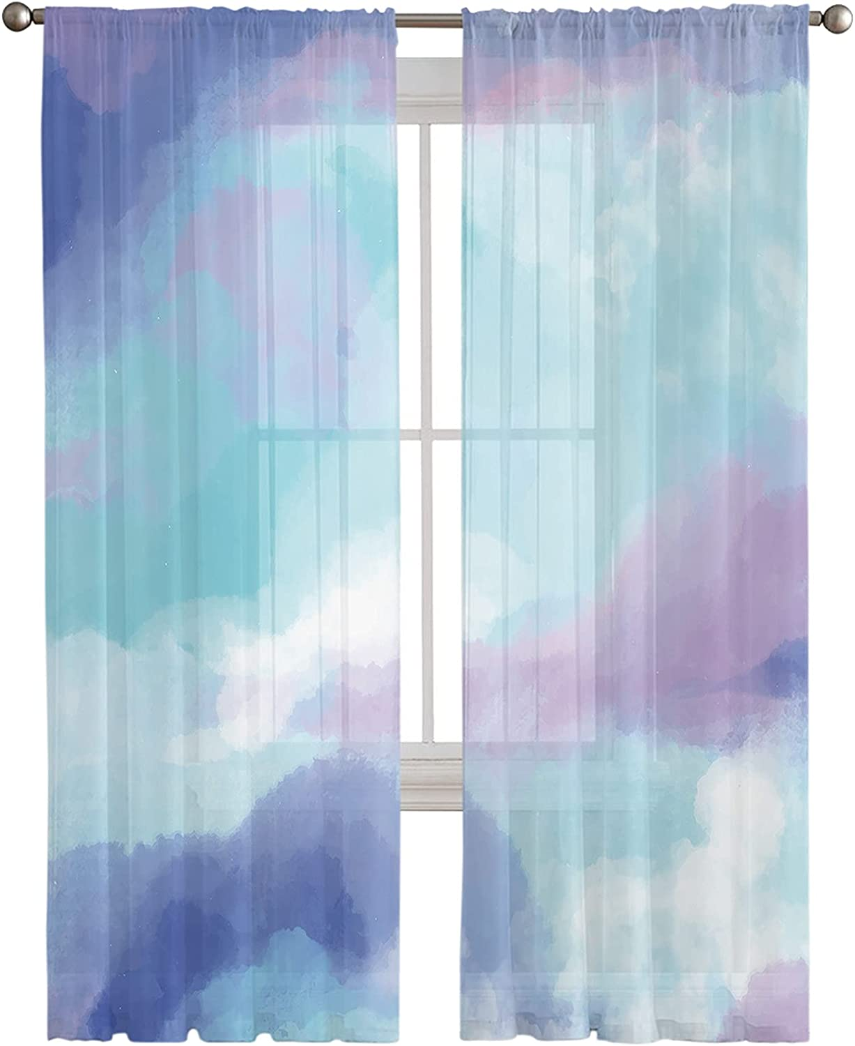 Semi Sheer Window Curtain sale Max 83% OFF for Living Oil Abstract Bedroom Room P