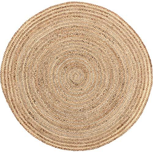 VHC Marken Harlow Jute rund Teppich, Textil, beige, 91,4 cm - 3
