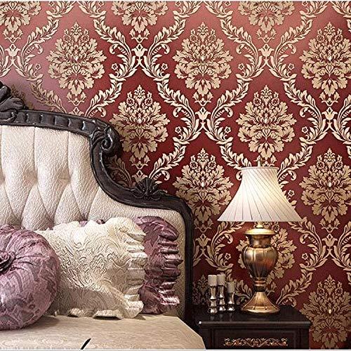 Rollo de papel pintado de 7 colores brillantes de 10 x 0,53 m, 3D, oro europeo, damasco, con textura no tejida, para dormitorio, sala de estar, 1,73 pulgadas de ancho x 32.8 pulgadas de largo = 5,3 m2