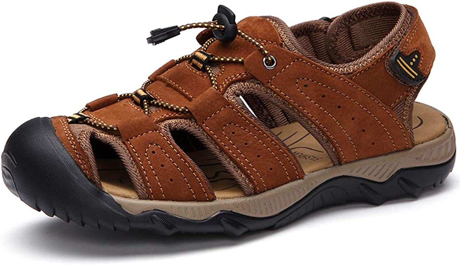 Men Sports Sandals Outdoor Athletic Hiking Leather Fisherman Beach shoes Traveling,a,43