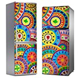 MEGADECOR Vinilo Adhesivo Decorativo para Nevera, Especial Libre De Burbujas, Mandalas Circulares Pintadas A Mano (185cm x 60cm)
