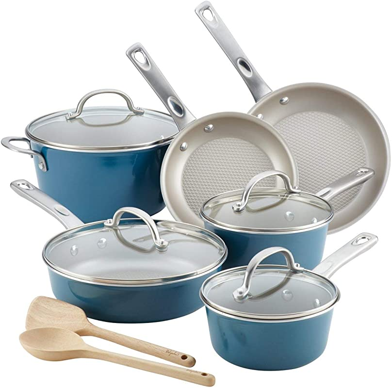 Ayesha Curry 10766 Porcelain Enamel Nonstick Cookware Set44 Twilight Teal44 12 Piece