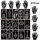 Xmasir 40 Blatt selbstklebende Henna Tattoo Schablonen kit, Mehndi-Tattoo Vorlage für Tätowierungs Körperkunst, die indische arabische Airbrush Tattoos malt