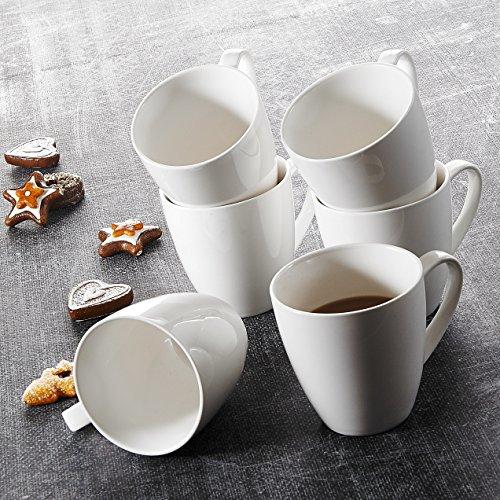 MALACASA, Serie Monica, 6 TLG. Set Kaffeeservice CremeWeiß Porzellan Kaffeetasse Runde Tassen 5 Zoll / 13 * 9,5 * 9,5cm / 380ml Becher Teetasse Kaffeebecher-Set Bechersets für 6 Personen