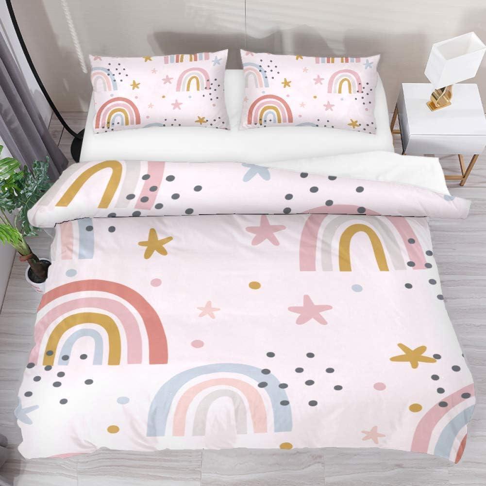 Aisso Printed Duvet Cover Set Cartoon Rainbow Star Super Soft Comforter Set Microfiber 3 Piece Extra Long Twin Bedding Sets For Home Hotel Rv Decor Home Kitchen