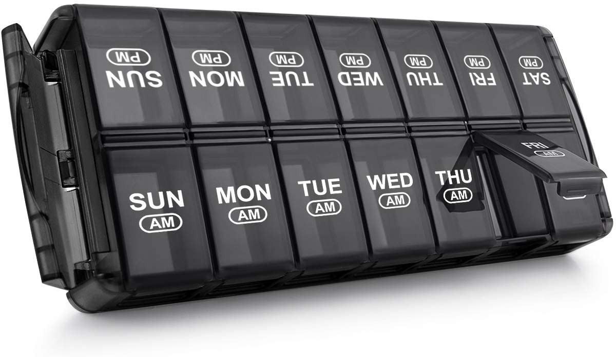Pill Organizer 2 Times A Day Sukuos Safety and trust Weekly Elegant Am 7 Box Pm