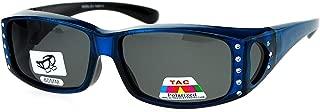 Womens Polarized Fit Over Glasses Sunglasses Rhinestone Rectangular Frame