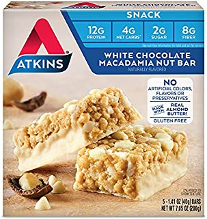 Atkins Gluten Free Snack Bar, White Chocolate Macadamia Nut, 7.05 Ounce (Pack of 6)