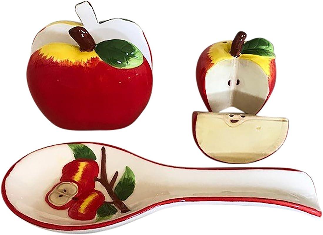 Apple Kitchen Decor Collection Salt And Pepper Shaker Set Spoon Rest And Napkin Holder Bundle
