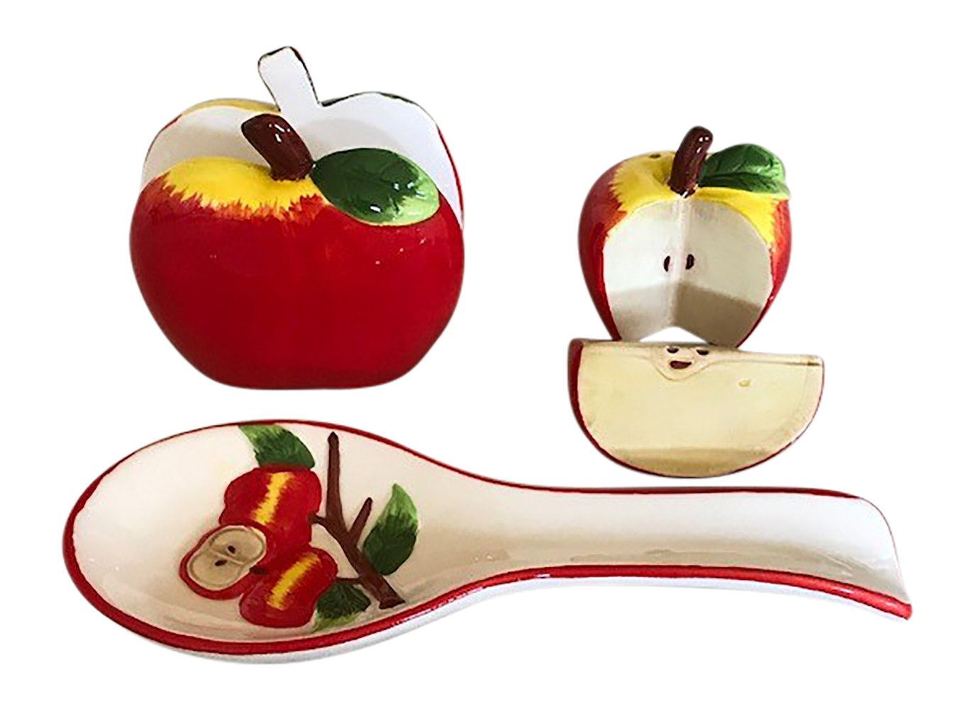Apple Kitchen Decor Collection, Salt and Pepper Shaker Set, Spoon