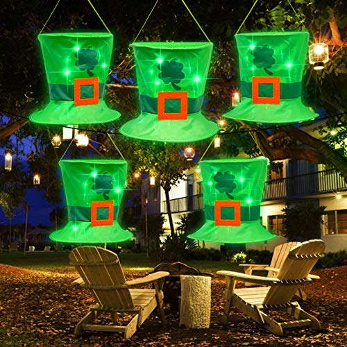 TURNMEON 5Pcs Leprechaun Hat St.Patrick's Day Decorations Lights 14Led Green String Lights Battery Operate St. Patrick's Day Hanging Decoration Outdoor Indoor Home Yard Tree Decor Irish Party