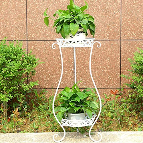 GWFVA Afwerkingspot voor bloempotten. Creatieve metalen bloempot woonkamer binnen en buiten balkon decoreren balkon 2 lagen bloem plank bloempot assembleren bloempot (kleur: B)