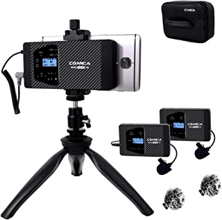 Wireless Lavalier Microphone Comica CVM-WS60 Combo 12-Channels Professional UHF Dual Smartphone Wireless Lapel Microphone for iPhone Samsung Android Phones,Canon Nikon DSLR Cameras(RX+2TX)
