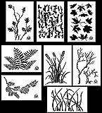 Acid Tactical 8 Designs - 9x14' Camouflage Vinyl Airbrush Spray Paint Stencils - (Grass, Bark, Fern, Maple, Oak, Pine, Wheat, Gnarly Branch)