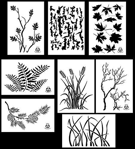 Acid Tactical 8 Designs - 9x14 Camouflage Vinyl Airbrush Spray Paint Stencils - (Grass, Bark, Fern, Maple, Oak, Pine, Wheat, Gnarly Branch)