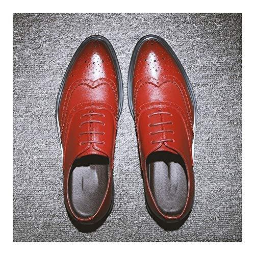 Best-choise Oxford Acento de Negocios for los Hombres de Gran tamaño de los Zapatos de Cuero de Microfibra de Encaje hasta Punta Estrecha del Extremo del ala Burnished Estilo Encerado Cordones Gruesa