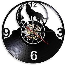 ZhaoCJB Lobo Aullando Silueta en la Luna Reloj de Pared Luna Llena Lobo Tribal Animal Arte de la Pared Disco de Vinilo Reloj de Pared Lobos Admiradores GIF