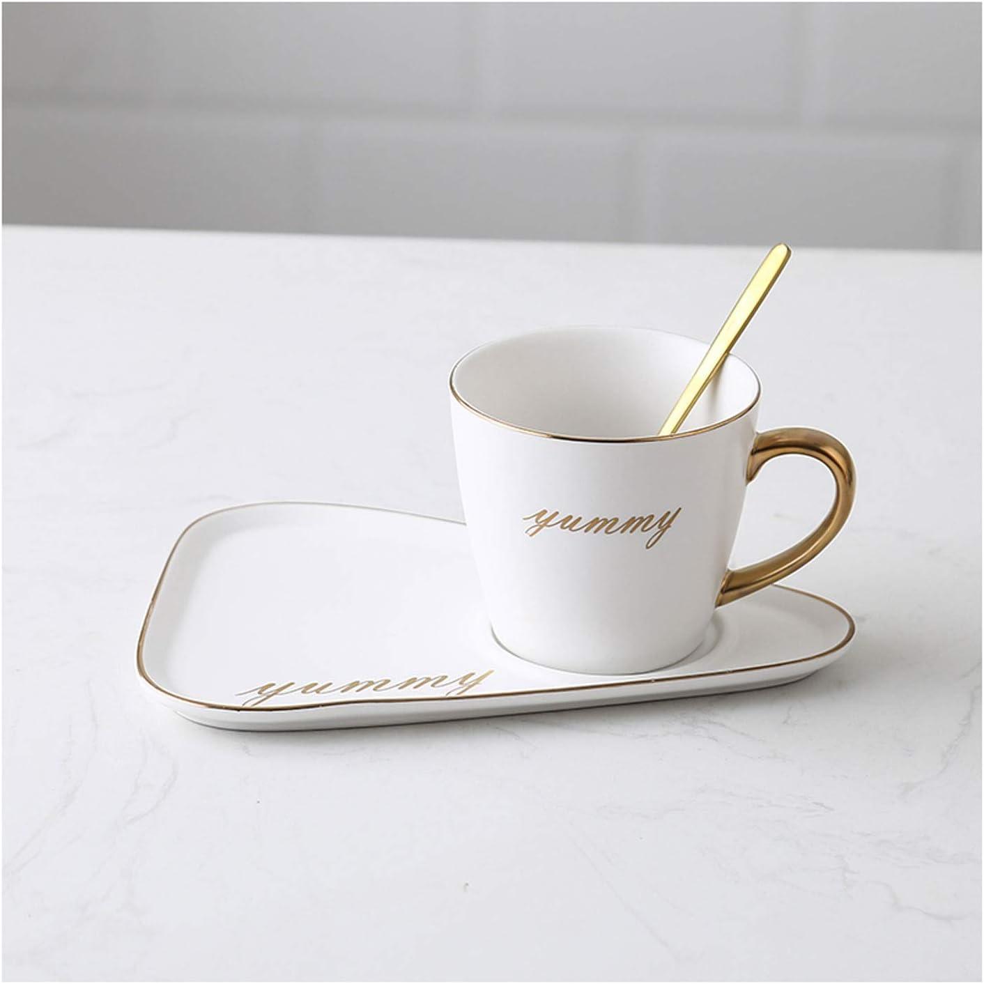 Taza de café Cuchara de café de cerámica mate Cuchara y bandeja de la bandeja 8.8 oz Taza de té de cerámica con la cuchara Desayuno / taza / taza, adecuado for bebidas calientes y frías de café de té