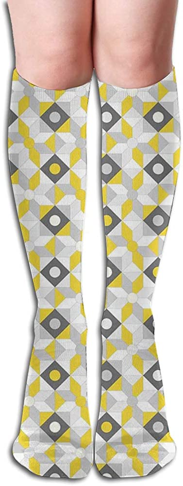 Men's and Women's Funny Casual Combed Cotton Socks,Geometric Retro 60s 70s Home Inspired Rounds Squares Image