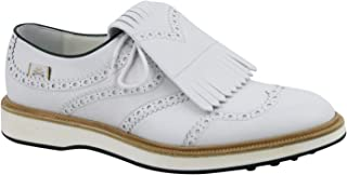 Gucci Brogue Fringed White Leather Oxford Golf Shoes 368438 9014