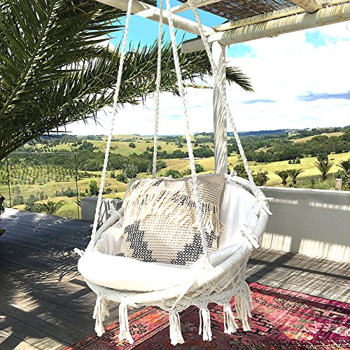 Sonyabecca Hammock Chair Macrame Swing 265 Pound Capacity Handmade Knitted Hanging Swing Chair for Indoor/Outdoor Home Patio Deck Yard Garden Reading Leisure Lounging Not Included Cushion or Pillow
