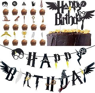 Wizard Inspired Cupcake Toppers BETOY 17PCS Harry Potter Inspired Cupcake Toppers cumpleaños Decoracion de Fiesta Mago Est...