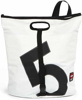 360° Grad Umhänge-Tasche Damen groß, Tender, Segeltuch-Tasche wasserdicht, Seesack weiß mit Zahl schwarz, maritim, wetterfest