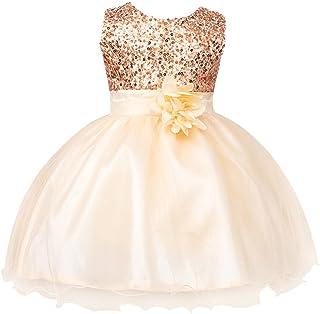 fe680e86bb5f9 IWEMEK Petite Fille Fleur Robe de Princesse Paillettes Demoiselle d honneur Enfants  Robe de Anniversaire
