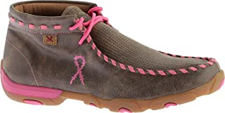 Twisted X Women's Bomber Breast Cancer Ribbon Driving Moccasin Moc Toe