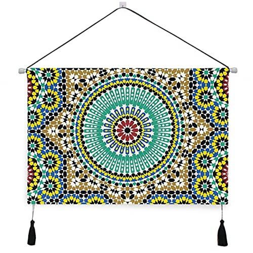 ELIENONO Póster colgante de lienzo,Esmalte arquitectónico Azulejos decorativos para paredes Cerámica Destinos históricos de viaje perchas decorativas para colgar en la pared con pergamino para el