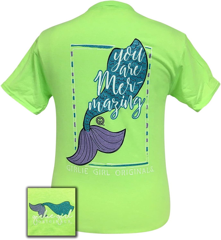 Girlie Girls Mermazing Neon Green Preppy Mermaid Short Sleeve TShirt