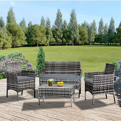 Panana-Rattan-Garden-Furniture-4-Piece-Set-Coffee-Table-Chair-Sofa-with-Cushions-Patio-Outdoor-Conservatory-Poolside-Mixed-Grey-Rattan-with-Grey-Cushions