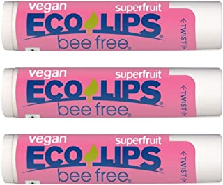 Eco Lips Vegan Superfruit Bee Free Lip Balm Includes Candelilla Wax, Organic Cocoa Butter and Coconut Oil, 3-Pack
