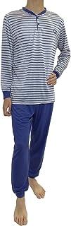 Pijama de Caballero Hombre de Algodon Fino Manga Larga con Pantalon Largo de puño y Cuello Abierto con 2 Botones/Ropa para Dormir de Hombre