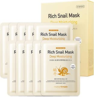 MOTHER MADE Deep Moisturizing Rich Snail Face Sheet Mask with Snail Secretion Filtrate (Snail Mucin) 5,000 ppm, Pack of 10, for Hydrating, Anti-Aging