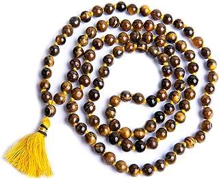 Wonder Care-Tiger Eye Tibetan Buddhist 108 Beads Original Mala for Meditation Rosary Prayer Crystal Semi Precious Beads.