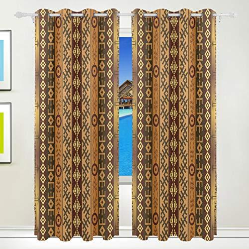 Ahomy Vorhang-Vorhänge, Afrika, Peronal-Charakter, wärmeisoliert, mit Ösen, Vorhang für Wohnzimmer, Esszimmer, Schlafzimmer, 213,3 x 139,7 cm, 2er-Set
