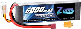 Zeee 3S 11.1V 6000mAh 60C RC LiPo Battery with Deans and XT60 Plug for RC Plane, DJI F450 Quadcopter, RC Airplane, RC Helicopter, RC Car Truck Boat