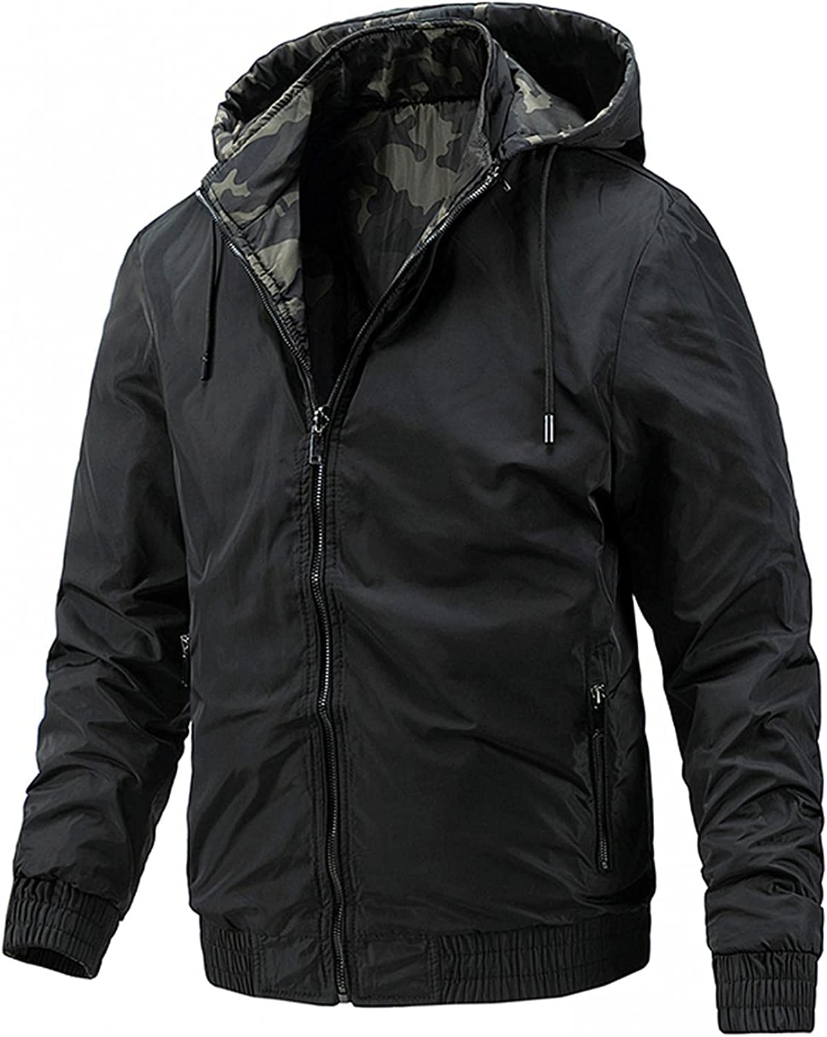 Men Casual Coat Hooded Jacket Both Sides Pockets Autumn&Winter Lightweight Blouse for Outdoor Hiking