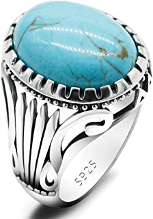 خاتم من الفضة الاسترليني 925 مع حجر لازورد الفيروز للرجال، حجر ازرق، صناعة يدوية تركية، خاتم اصلي مع حجر كريم