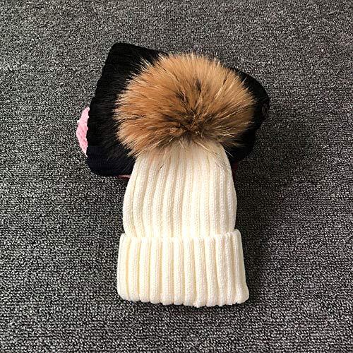 SUZHENAHutWinter Pelz Pompon Hut für Kinder Strickmütze Winter Baby Hüte Hochwertige Mütze für Kinder Pelz Pom Pom Hats für Mädchen und Jungen, Weiß, Kindergröße