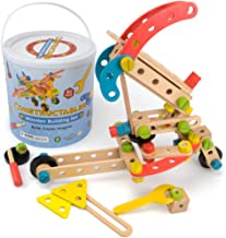 Imagination Generation Constructables! 92-Piece Wooden STEM Building Block Playset | Set Comes with Wood Construction Pieces & Real Play Tools | Includes Nuts & Bolts for Binding Blocks Together