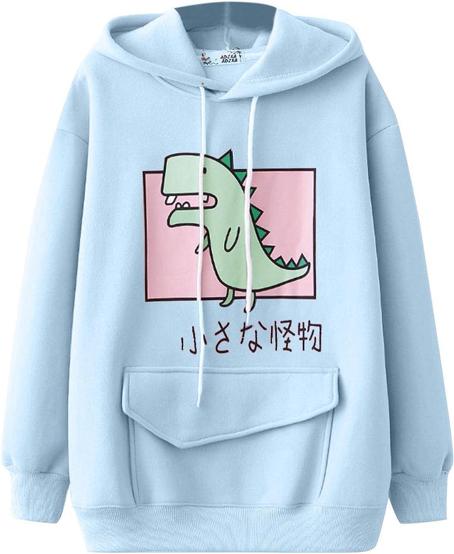 Sweatshirts for Women,Women Dinosaur Hoodie Sweatershirts Kawaii Animal Splice Dinosaur Pullover Blouses Shirts