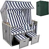TecTake Zweisitzer Strandkorb + Premium Schutzhülle + 2 extra Kissen -Diverse Farben- (Grau-Weiß |...