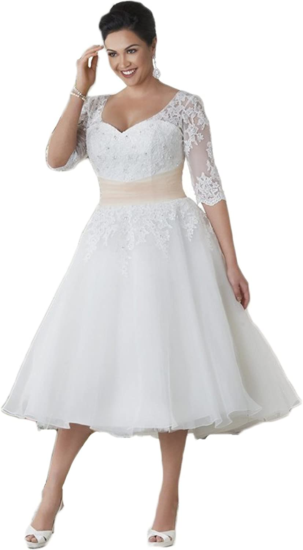 HotDresses Tea Length Wedding Dress Half Sleeve Plus Size Lace Wedding Gowns
