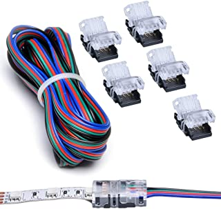 RGB LED Strip Connector Kit 4 Pin with Extension Wire UL Listed 9.8 Feet/3 Meter 22 Gauge 4 Conductor, DIY Both Strip to P...