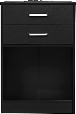 ADORNEVE Nightstand Set of 2,Black Nightstand with Charging Station,Night Stands for Bedroom